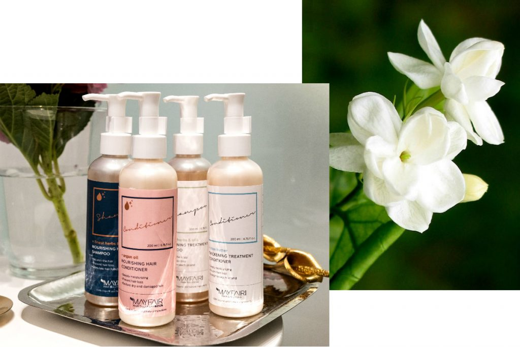 Mayfair Hair Solutions Growth products with Jasmine