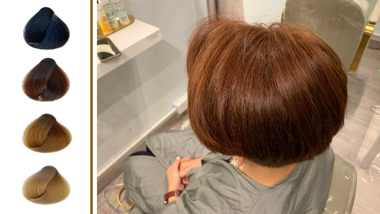 Woman having natural hair colouring at salon
