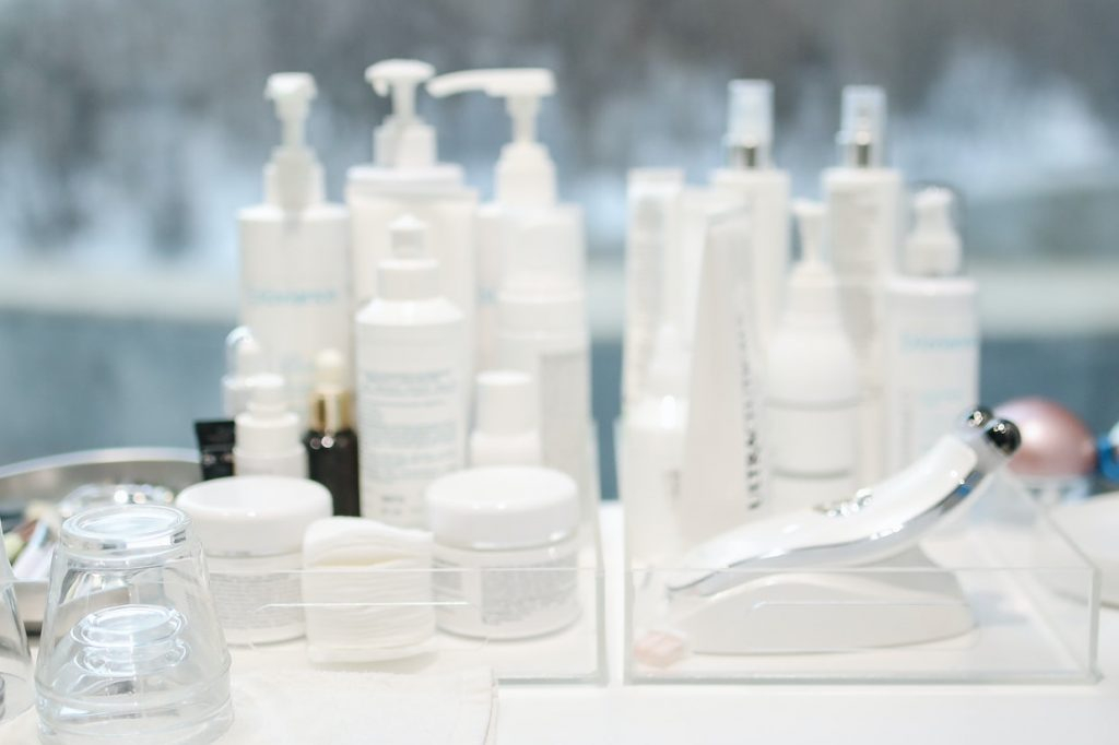 Many products on table too much hair products hair loss