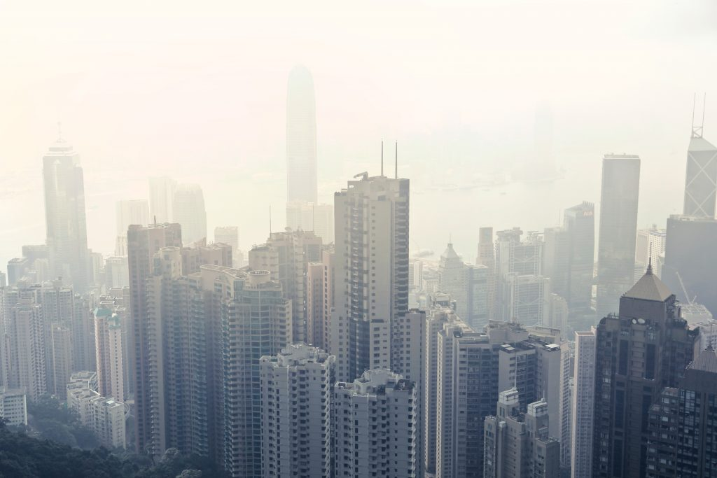 Hong Kong city view with fog