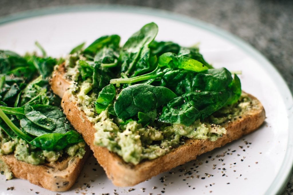 Leafy greens on toast for hair growth
