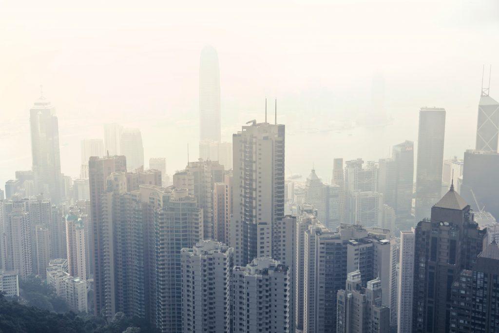 Hong Kong city view with fog